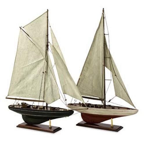 Set of Two Antique Sailing Vessels