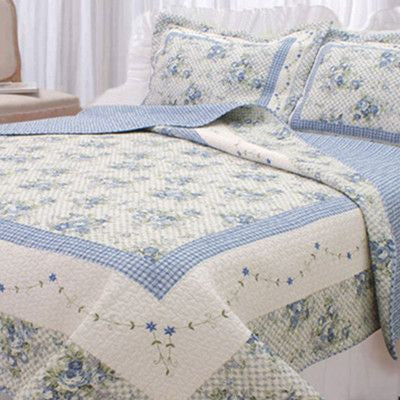 Periwinkle and White Quilt Set - King