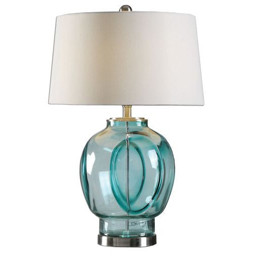 Serena Blue Green Glass Table Lamp