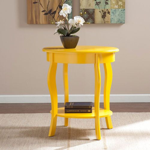 Yellow Oval End Table