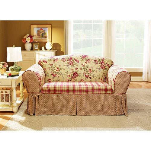Multicolor Check and Floral Sofa Slipcover