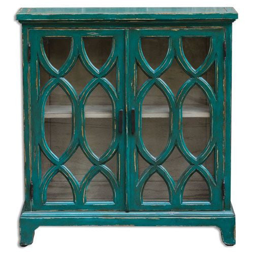 Teal Glass Fronted Cabinet