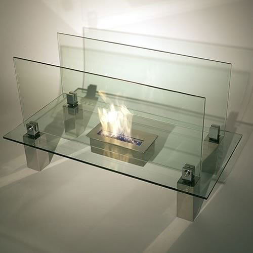 Freestanding Tempered Glass Fireplace