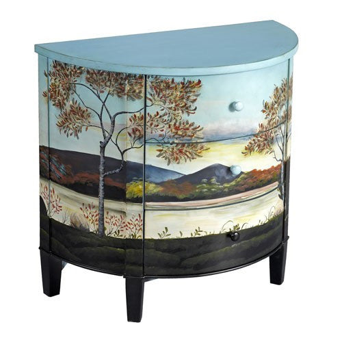 Handpainted Demilune Lake View cabinet