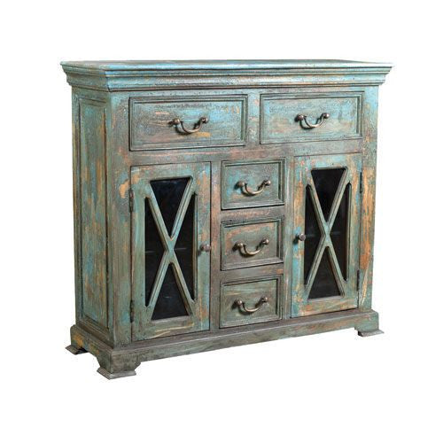 Distressed Country Blue Cabinet