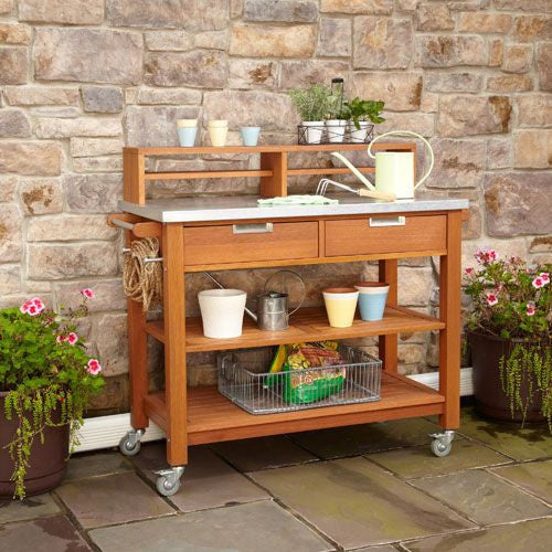 Natural Teak Potting Bench