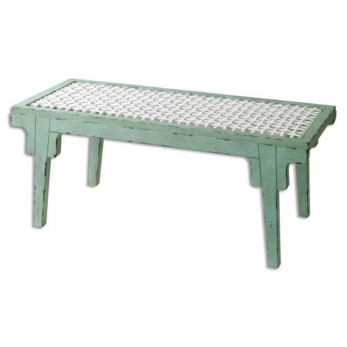 Weathered Turquoise Bench