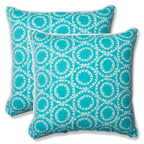 Set of Two Turquoise and White Outdoor Pillows