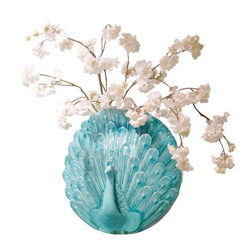 Turquoise Peacock Wall Vase