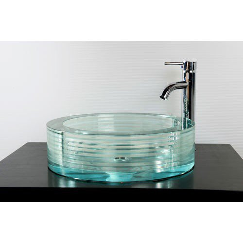 Round, Aqua Glass Vessel Sink