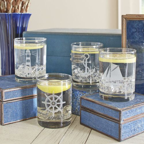 Set of Four Nautical Low Ball Glasses