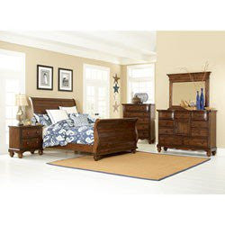 Pine Island Five Piece King Sleigh Bed Bedroom Suite