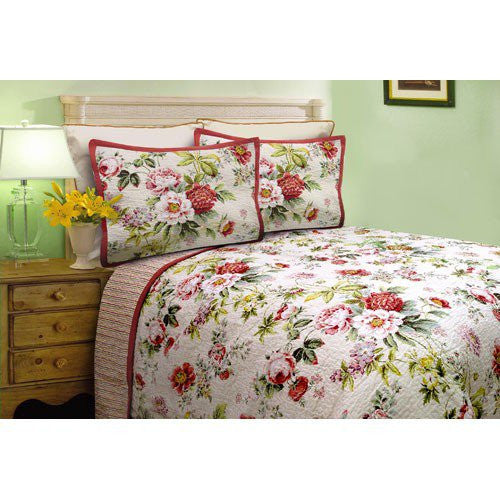 Floral Twin Sized Quilt and Two Shams