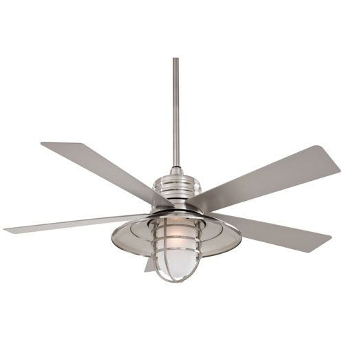 Nautical Brushed Nickel Outdoor Ceiling Fan