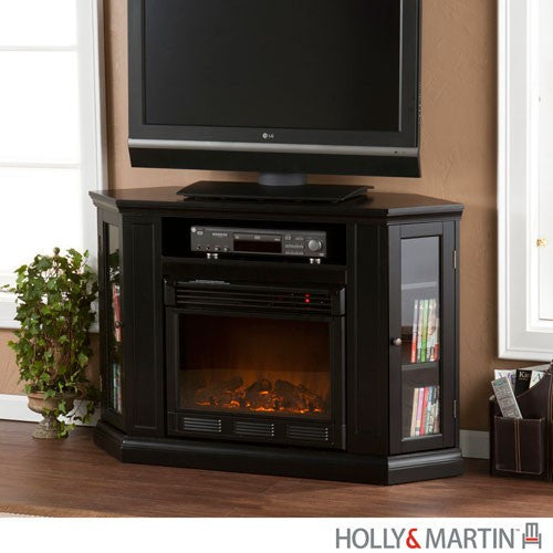 Black Convertible Media Electric Fireplace