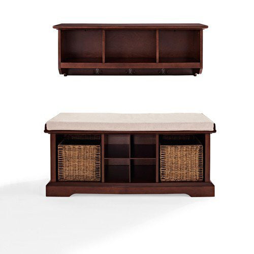 Mahogany Two Piece Bench Entryway Set
