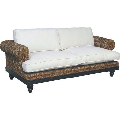 Abaca Sofa with White Cushions