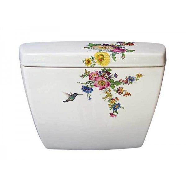 Decorated Porcelain Hummingbird Toilet