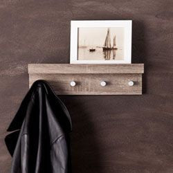 Faux Driftwood Entry Shelf With Hangers