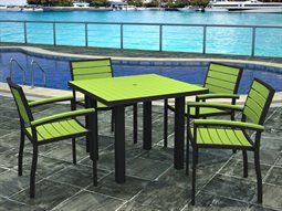 Polywod Casual Outdoor Dining Set Lime
