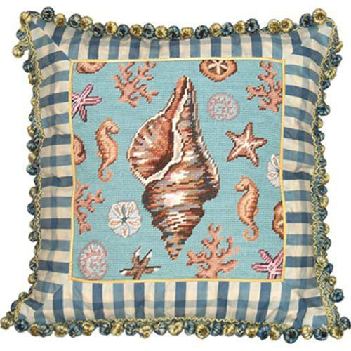 Conch Shell Needlepoint Pillow