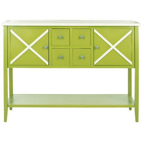 Adrienne Green and White Sideboard