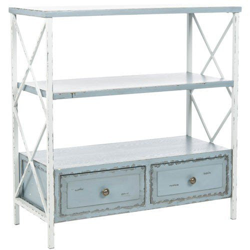 Distressed Gray and White Console With Two Drawers