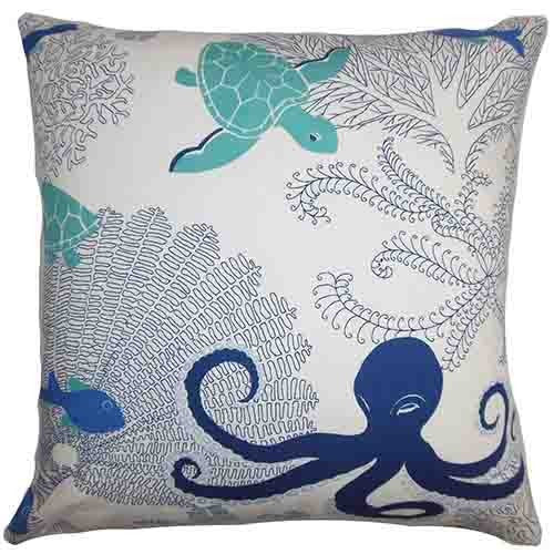Octopus and Sea Turtle Throw Pillow