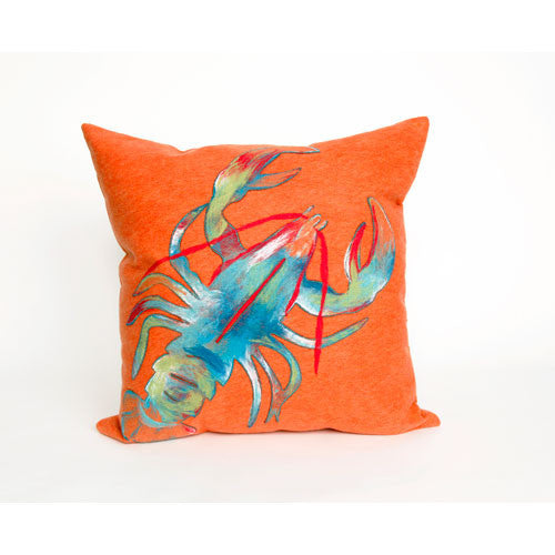 Bright Orange and Blue Lobster Pillow