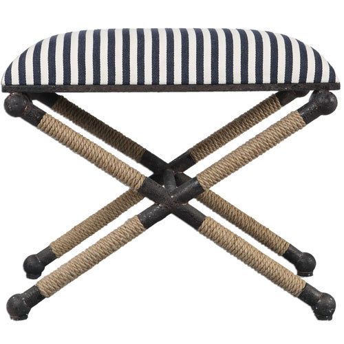 Navy and White Striped Bench