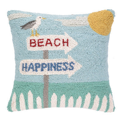 Hand Hooked Beach Happiness Pillow