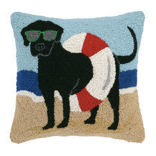 100% Wool Hand Hooked Pillow Beach Lab