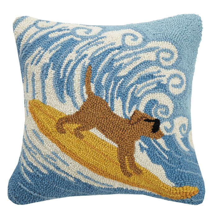 Surfing Dog Hooked Pillow