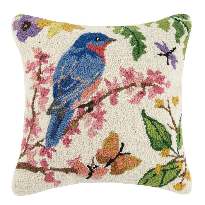 Bluebird in Spring Hooked Pillow
