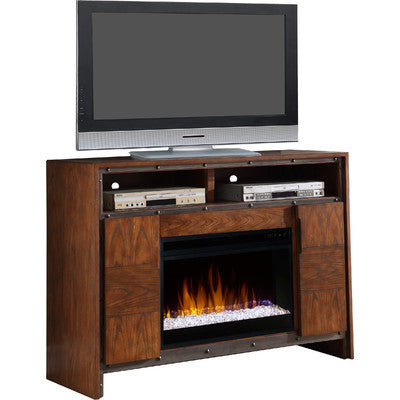 Wooden Inlay Electric Fireplace Entertainment Center