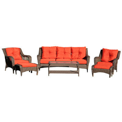 Six Piece Wicker Seating Group With Cushions