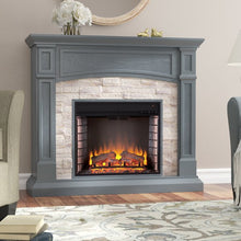 Gray Blue Fieldstone Electric Fireplace