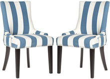 Set of Two Striped Upholstered Dining Chairs