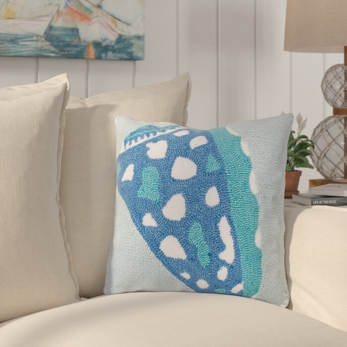 Blue and Aqua Hooked Shell Pillow