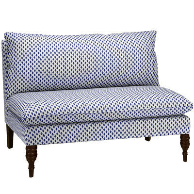 Navy and White Armless Sofa