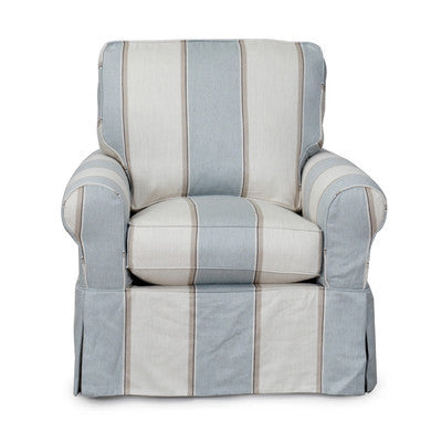 Blue and White Striped Slipcovered Club Chair