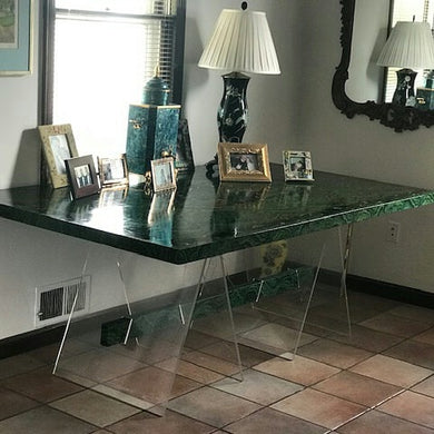 Vintage Mid-Century Modern Faux Malachite Dining Table