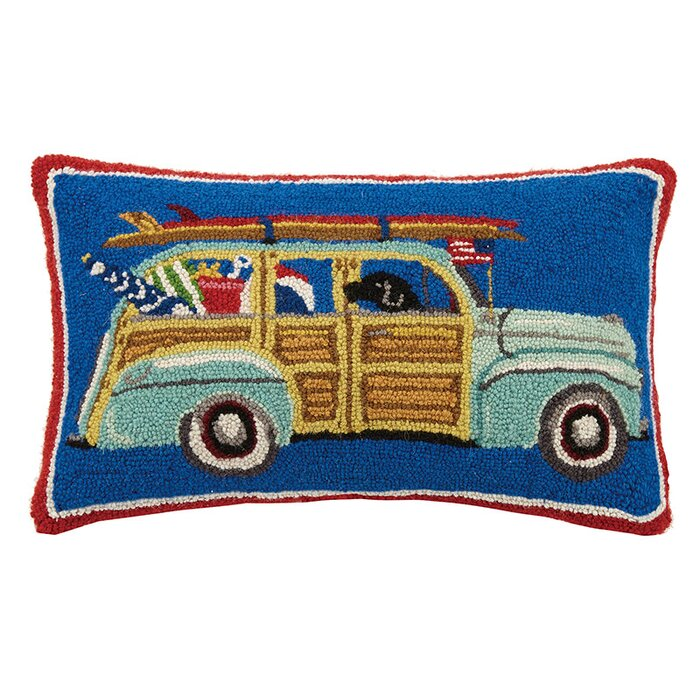Woody Station Wagon Hooked Pillow