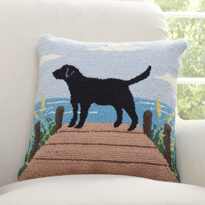 100% Wool Hand Hooked Lab at the Lake Pillow
