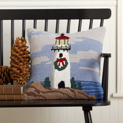 100% Wool Lighthouse Holiday Pillow