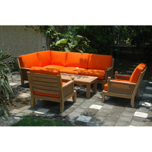 Seven Piece Solid Teak Outdoor Seating Seat with Sunbrella Cushions