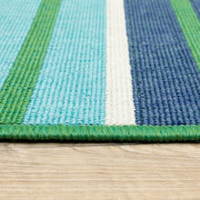 "Blue and White Striped Indoor/outdoor Rug 7' 10"" x 10' 10"""