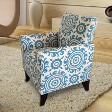 Adeco Blue and White Arm Chair