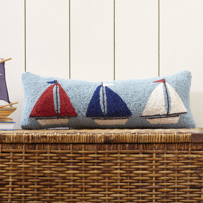 100% Wool Hand Hooked Sail Away Pillow