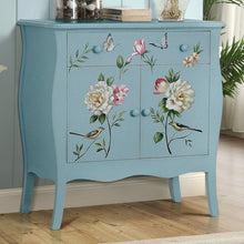 Handpainted Floral Cabinet with Birds